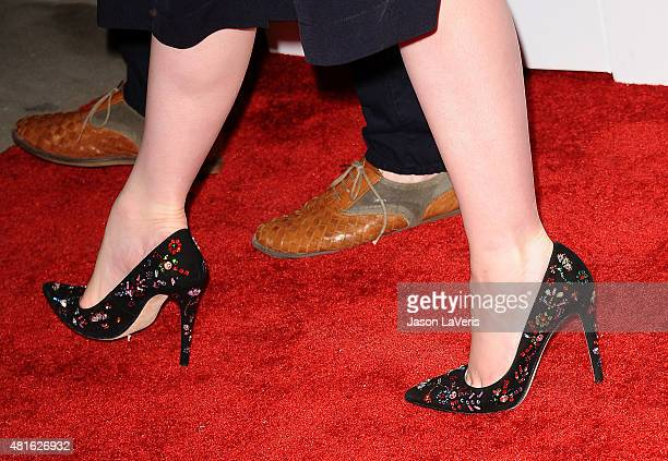 """Actress Christina Hendricks, shoe detail, attends the Buick """"24 Hours Of Happiness"""" test drive launch event at Ace Museum on July 22, 2015 in Los..."""