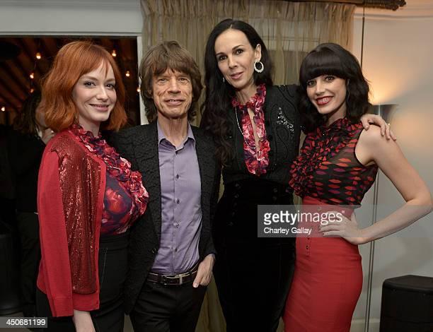 Actress Christina Hendricks singer Mick Jagger fashion designer L'Wren Scott and actress Jessica Pare attend the launch celebration of the Banana...