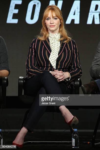Actress Christina Hendricks speaks onstage during the SundanceTV Winter TCA Press Tour 2016 Hap and Leonard panel at The Langham Huntington Hotel and...