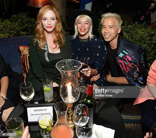 Actress Christina Hendricks stylist Lawren Sample and Just Jared's Jared Eng attend the afterparty for Apothic Wines and SVEDKA Vodka Present The Los...