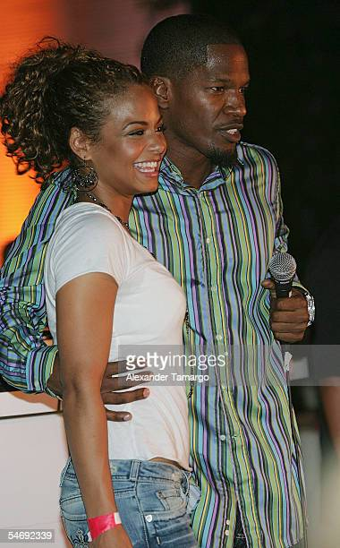 Actress Christina Milian and actor Jamie Foxx attend the 'Hurricane Katrina Relief Benefit' hosted by Jamie Foxx at the Delano Hotel on September 4...