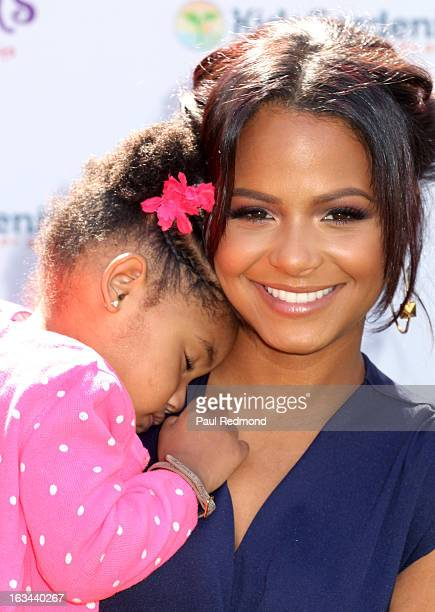 Actress Christina Milian and her daughter Violet Nash attend 'Get Kids Growing' Interactive Gardening Workshop For Kids at The Americana at Brand on...