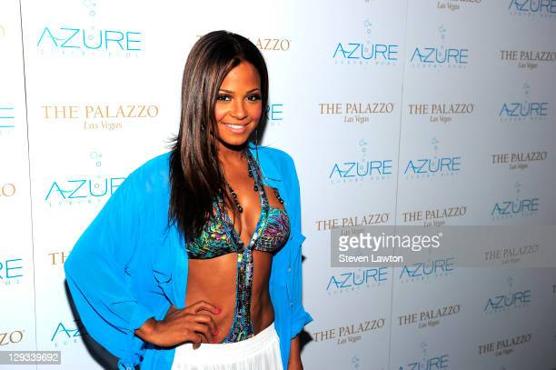 Actress Christina Milian arrives for the end of summer at the Azure pool at The Palazzo on October 15 2011 in Las Vegas Nevada