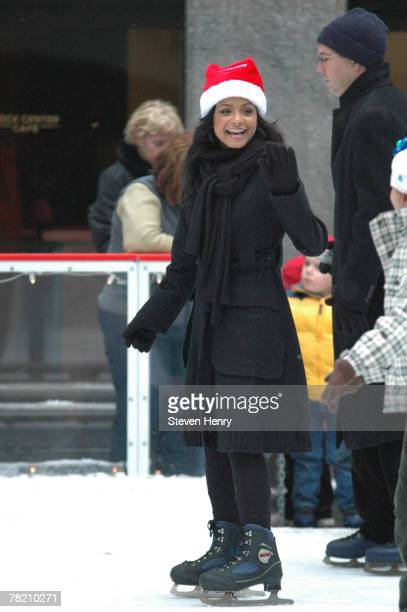 Actress Christina Millian ice skates at ABC Family's 25 Days Of Christmas Winter Wonderland at The Rock Center Cafe on December 2 2007 in New York...