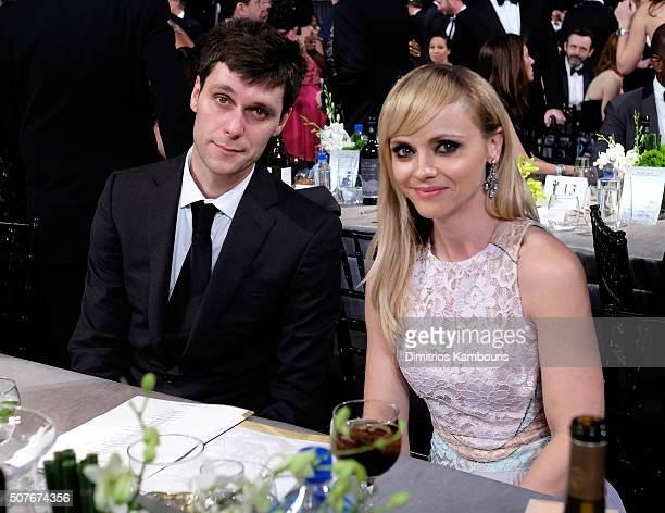 Actress Christina Ricci and James Heerdegen pose during The 22nd Annual Screen Actors Guild Awards at The Shrine Auditorium on January 30, 2016 in...
