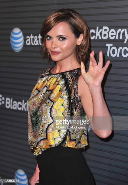 Actress Christina Ricci arrives at the Blackberry Torch launch party on August 11, 2010 in Los Angeles, California.