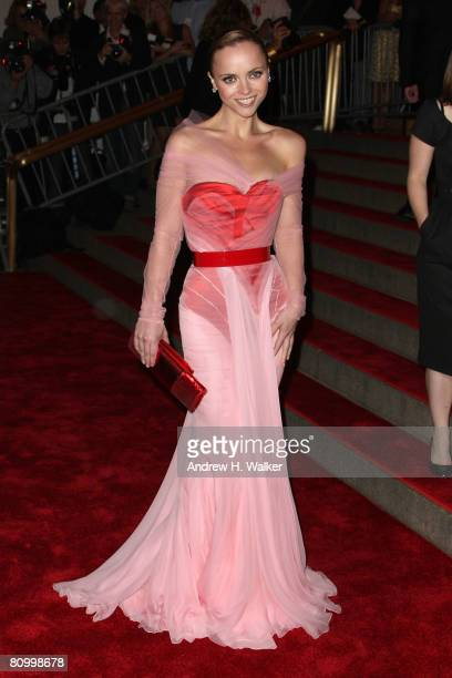 Actress Christina Ricci arrives to the Metropolitan Museum of Art Costume Institute Gala Superheroes Fashion and Fantasy held at the Metropolitan...