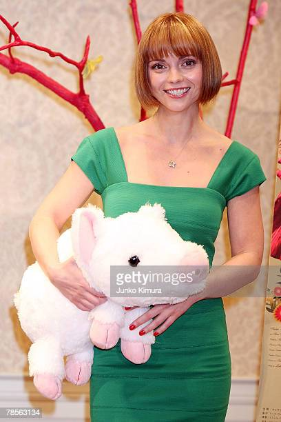 Actress Christina Ricci attends a press conference promoting her film Penelope at Hotel Seiyo Ginza on December 19 2007 in Tokyo Japan The film will...
