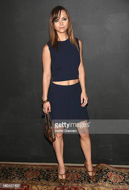 Actress Christina Ricci attends the Marc Jacobs fashion show during Mercedes-Benz Fashion Week Spring 2014 at the Lexington Avenue Armory on...