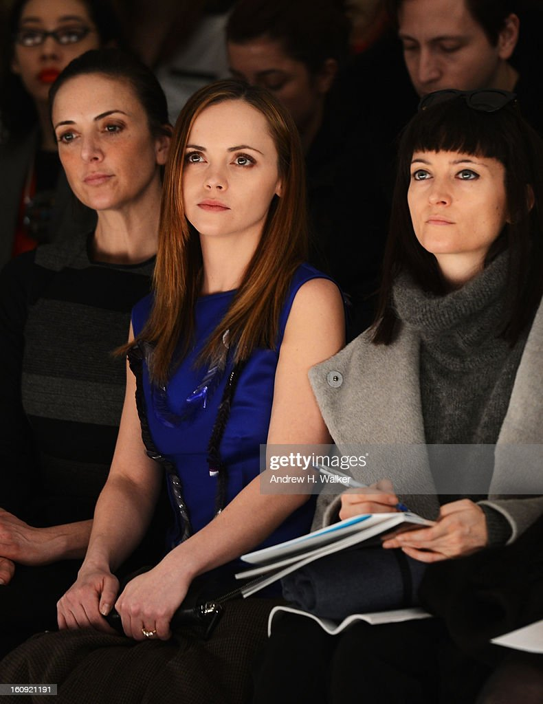 Actress Christina Ricci (C) attends the Richard Chai Love & Richard Chai Men's Fall 2013 fashion show during Mercedes-Benz Fashion Week at Lincoln Center for the Performing Arts on February 7, 2013 in New York City.