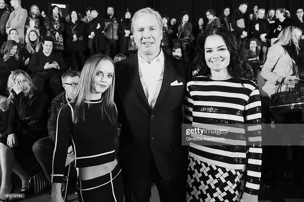 Actress Christina Ricci, CEO of Marc Jacobs Robert Duffy and Doctor Lisa Airan attend the Marc Jacobs Collection Fall 2013 fashion show during Mercedes-Benz Fashion Week at New York Armory on February 14, 2013 in New York City.