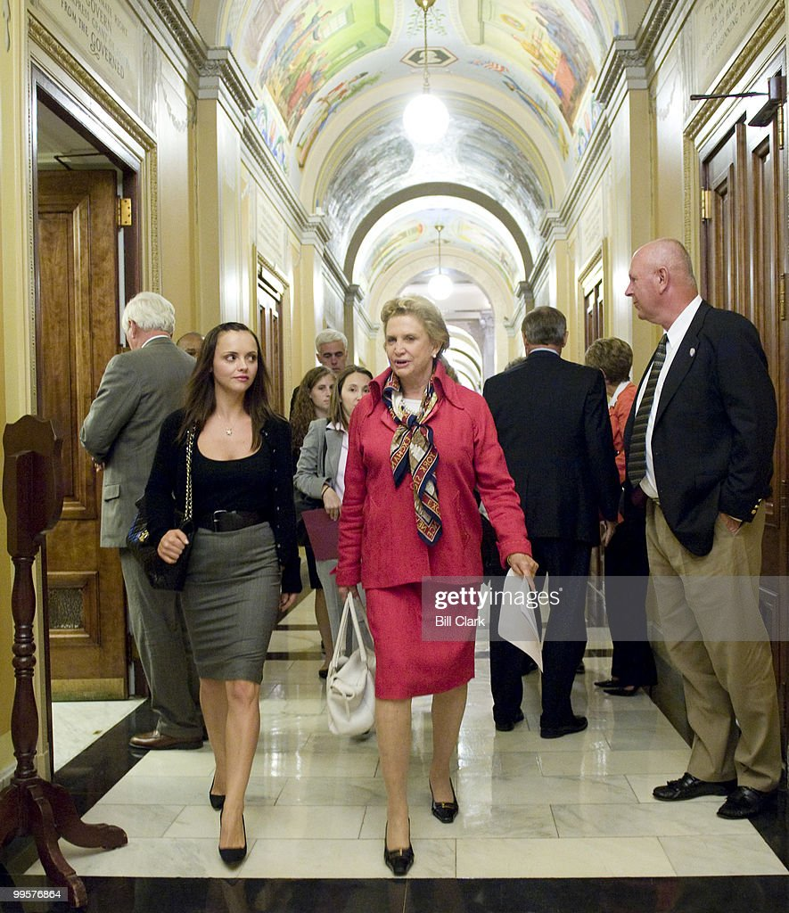 Actress Christina Ricci, left, talks with Rep. Carolyn Maloney, D-N.Y., as they walk from Maloney's office in Rayburn to the members' dining room in the Capitol on Wednesday, Sept. 9, 2009. Ricci, who is the national spokesperson for RAINN, an anti-sexual assault organization, was on Capitol Hill speaking to members of Congress to stress the importance of including funds for victims of sexual violence in the health care reform legislation.