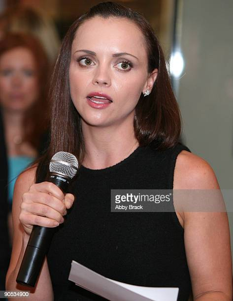 Actress Christina Ricci, national spokesman for Rape, Abuse and Incest National Network, speaks at a fund-raising reception on September 9, 2009 in...