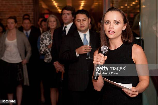 Actress Christina Ricci, national spokesman for Rape, Abuse and Incest National Network, attends a fund-raising reception on September 9, 2009 in...