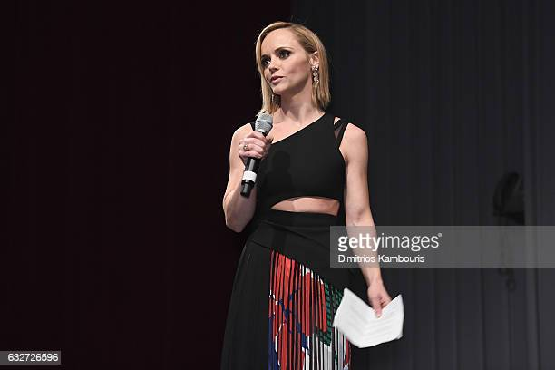Actress Christina Ricci speaks onstage during the premiere event for Amazon Prime Video's Z THE BEGINNING OF EVERYTHING on January 25 2017 in New...