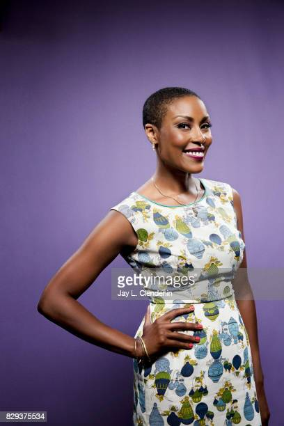 Actress Christine Adams from the television series 'Black Lightning' is photographed in the LA Times photo studio at ComicCon 2017 in San Diego CA on...
