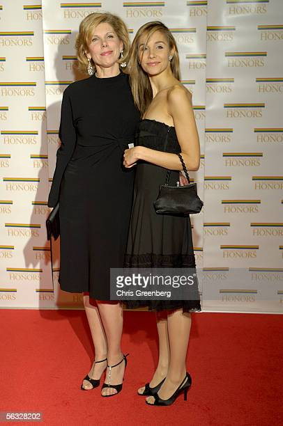 Actress Christine Baranski and her daughter Ms Isabel Cowles pose for photographers on the red carpet at the US State Department at a gala...