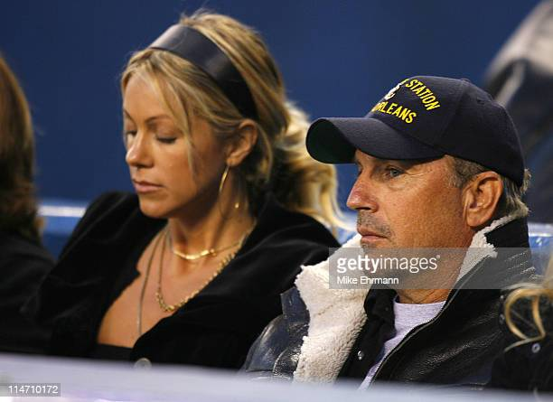 Actress Christine Baumgartner and husband actor Kevin Costner watches a game between the New York Yankees and the Tampa Bay Devil Rays at Yankee...