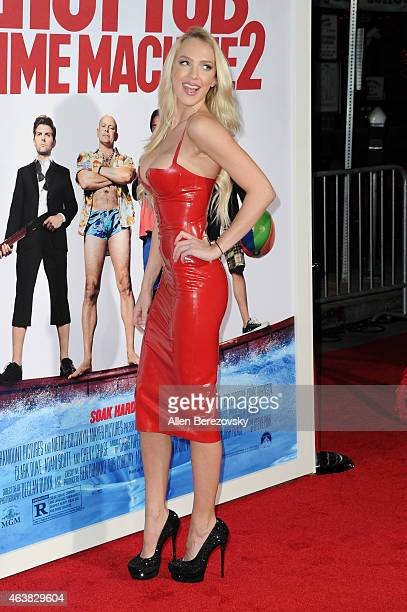 Actress Christine Bently arrives at the Los Angeles premiere of Hot Tub Time Machine 2 at Regency Village Theatre on February 18 2015 in Westwood...