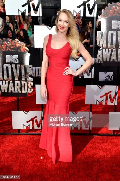 Actress Christine Bently attends the 2014 MTV Movie Awards at Nokia Theatre LA Live on April 13 2014 in Los Angeles California
