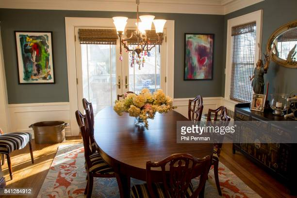 Actress Christine Ebersole's home is photographed for Closer Weekly Magazine on April 14 2016 in New Jersey Dining room artwork on the wall is...