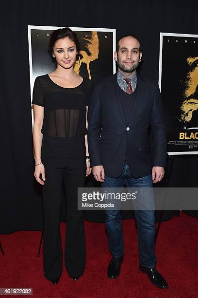 Actress Christine Evangelista and composer Ilan Eshkeri attend the 'Black Sea' New York screening at Landmark Sunshine Cinema on January 21 2015 in...