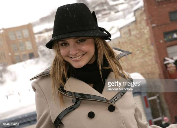 Actress Christine Evangelista of 'Goodbye Baby' poses at the Sky 360 Delta Lounge during 2008 Sundance Film Festival on January 21 2008 in Park City...