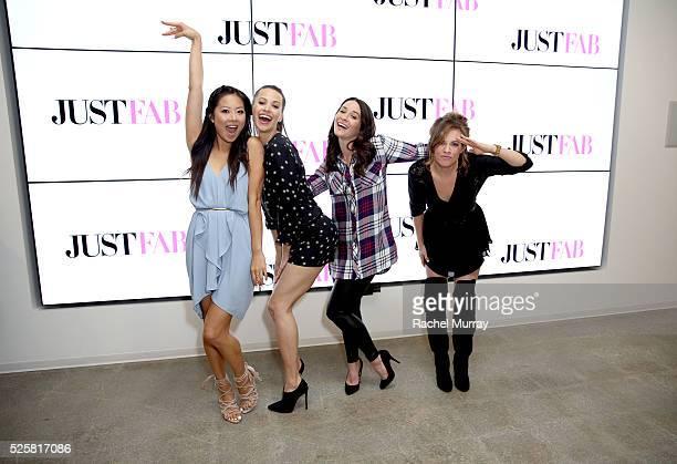 Actress Christine Ko wearing JustFab heels actress Kristen Gutoskie actresses Mekenna Melvin and Molly Burnett in JustFab attend JustFab StyleHaul...