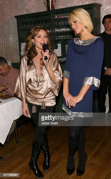 Actress Christine Lakin and actress Paris Hilton attend 'The Hottie and The Nottie' Dinner hosted by the Bon Appetit Supper Club on January 20 2008...