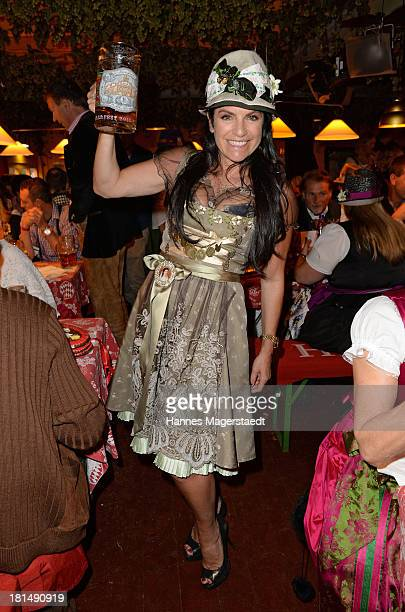 Actress Christine Neubauer attends the Oktoberfest beer festival at Theresienwiese on September 21 2013 in Munich Germany