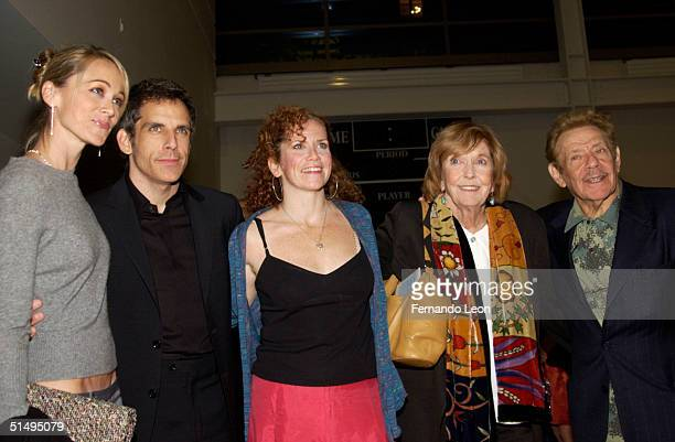 Actress Christine Taylor actor Ben Stiller his sister actress Amy Stiller and their parents actress Anne Meara and actor Jerry Stiller attend the...