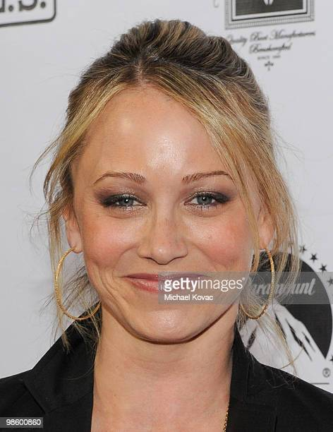 Actress Christine Taylor arrives at the Project A.L.S. LA Benefit hosted by Ben Stiller & Friends at Lucky Strike Bowling Alley on April 21, 2010 in...