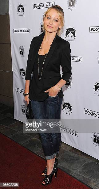 Actress Christine Taylor arrives at the Project ALS LA Benefit hosted by Ben Stiller Friends at Lucky Strike Bowling Alley on April 21 2010 in...