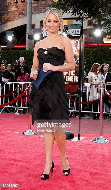 Actress Christine Taylor arrives on the red carpet of the Los Angeles Premiere of Tropic Thunder at the Mann's Village Theater on August 11 2008 in...