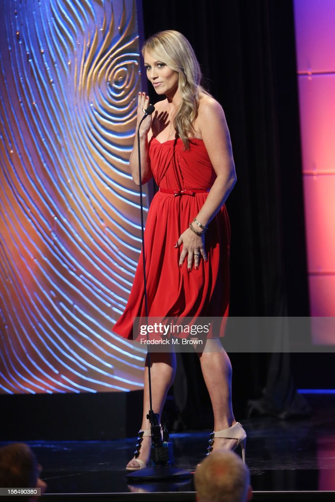 Actress Christine Taylor speaks onstage during the 26th American Cinematheque Award Gala honoring Ben Stiller at The Beverly Hilton Hotel on November 15, 2012 in Beverly Hills, California.
