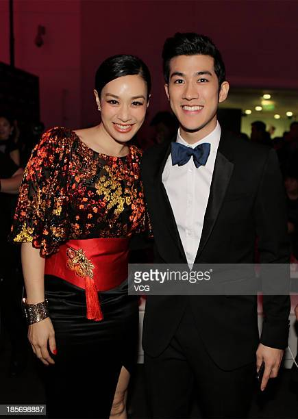Actress Christy Chung and actor Aarif Lee attend 2013 China Elegance Grand Ceremony at National Aquatic Center on October 23 2013 in Beijing China