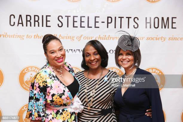 "Actress Chrystale Wilson, DeEtta West and Victoria Rowell attend Carrie Steele-Pitts Home ""High Tea"" luncheon at Four Seasons Atlanta on March 18,..."