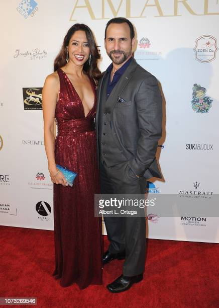 Actress Chuti Tiu and actor Oscar Torre attend the Amare's Second Year Anniversary 'Believe Issue' Party held at Sofitel Los Angeles At Beverly Hills...