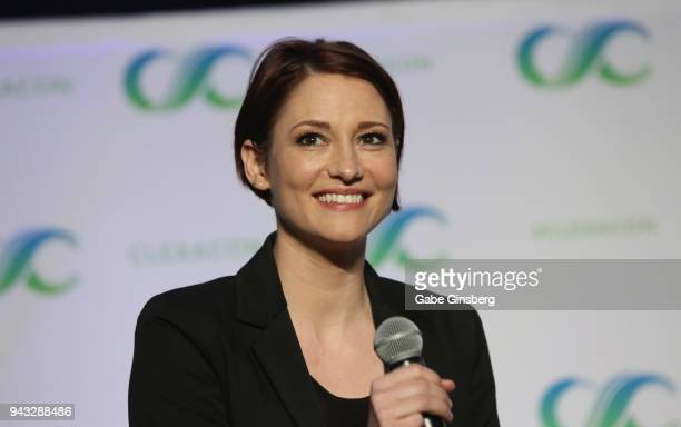 Actress Chyler Leigh speaks at the Behind the Badge Alex Danvers panel during the ClexaCon 2018 convention at the Tropicana Las Vegas on April 7 2018...