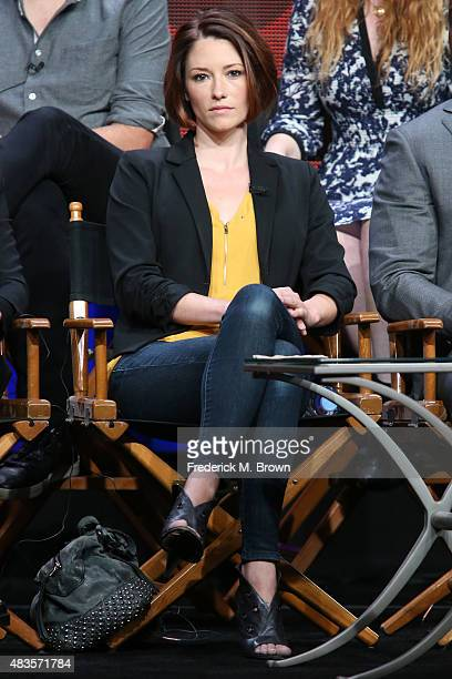Actress Chyler Leigh speaks onstage during the 'Supergirl' panel discussion at the CBS portion of the 2015 Summer TCA Tour at The Beverly Hilton...