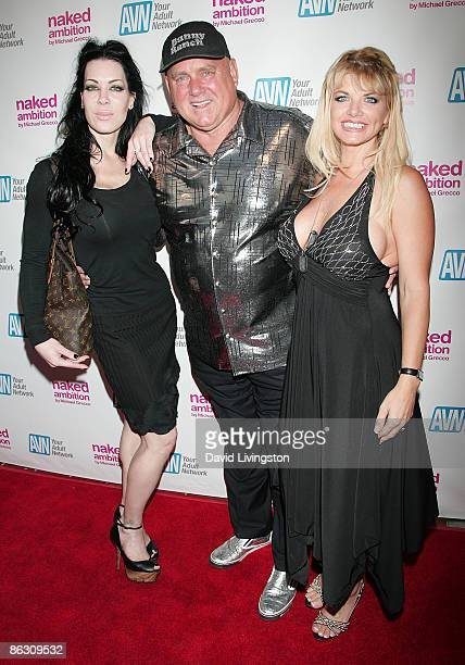 Actress Chyna TV personality Dennis Hof and adult film actress Vicky Vette attend the premiere of the documentary Naked Ambition An R Rated Look at...