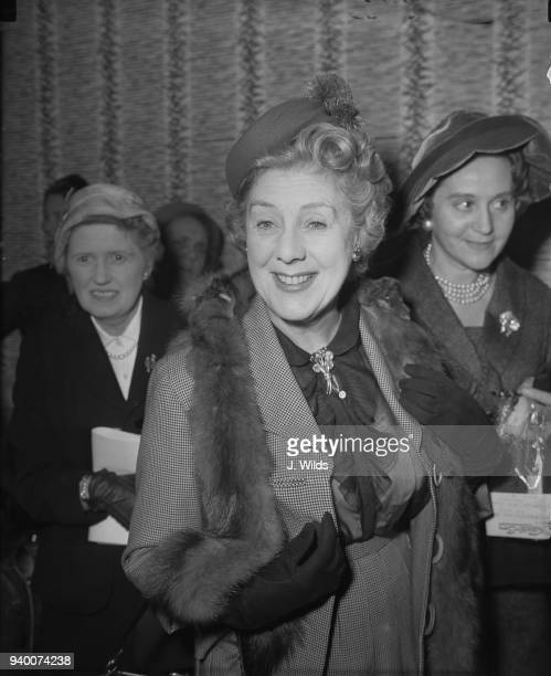 Actress Cicely Courtneidge attends a reception at the Savoy Hotel in London before the Women of the Year luncheon in aid of the Greater London Fund...
