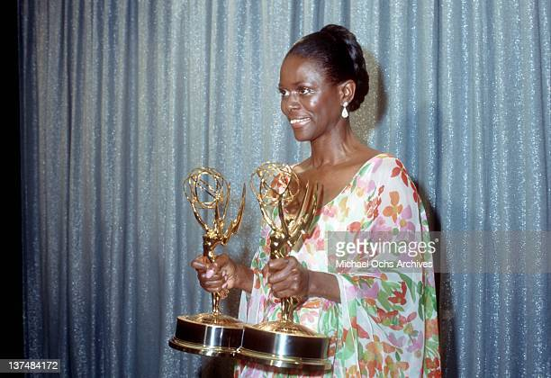 Actress Cicely Tyson holds the two Emmy Awards that she won for her performance in 'The Autobiography Of Miss Jane Pittman' on May 28 1974 in Los...