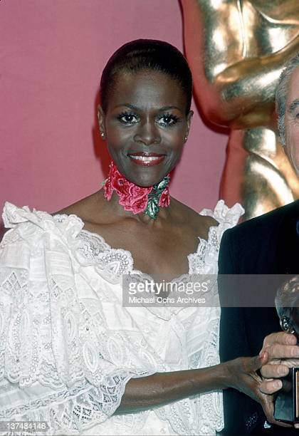 Actress Cicely Tyson poses at the Academy Awards ceremony which were held at the Dorothy Chandler Pavillion on March 28 1977 in Los Angeles California