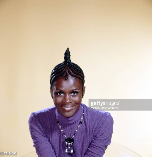 Actress Cicely Tyson poses for a portrait wearing a cornrow hairstyle in circa 1973