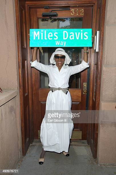 Actress Cicely Tyson stands in front of the old home of her former husband legendary trumpeter Miles Davis at the NYC Block Party Celebrating 'Miles...