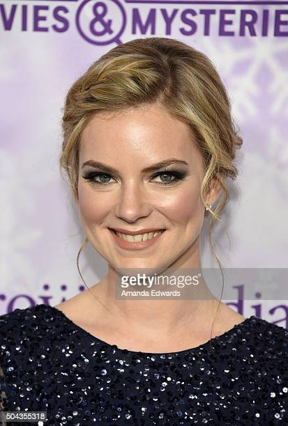 Actress Cindy Busby arrives at the Hallmark Channel and Hallmark Movies and Mysteries Winter 2016 TCA Press Tour at Tournament House on January 8...