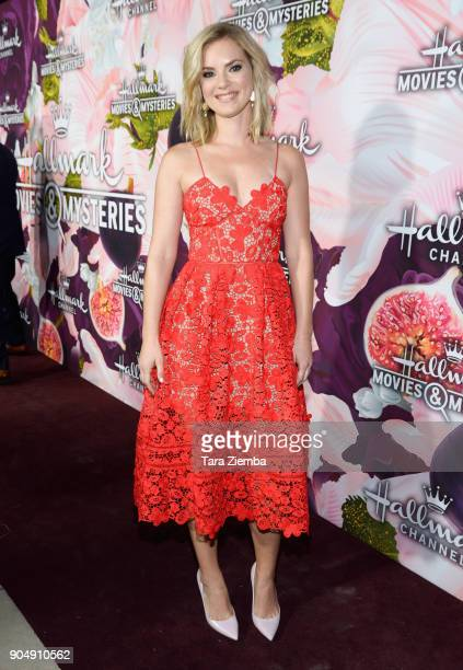 Actress Cindy Busby attends Hallmark Channel and Hallmark Movies and Mysteries Winter 2018 TCA Press Tour at Tournament House on January 13 2018 in...