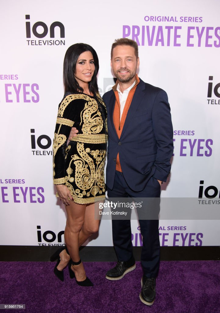 Actress Cindy Sampson (L) and actor Jason Priestley arrive at the ION Television Private Eyes Launch Event on February 8, 2018 in New York City.