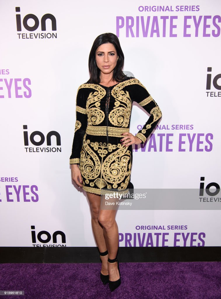 Actress Cindy Sampson arrives at the ION Television Private Eyes Launch Event on February 8, 2018 in New York City.